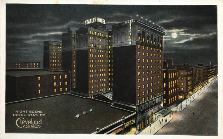 """Night Scene, Hotel Statler, Cleveland, Sixth City"" (a 1910s postcard)"